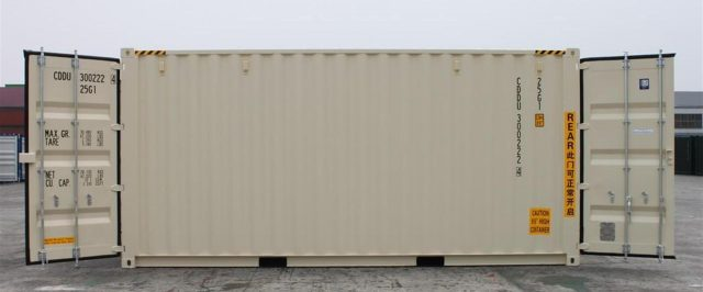 side view of a double door storage container